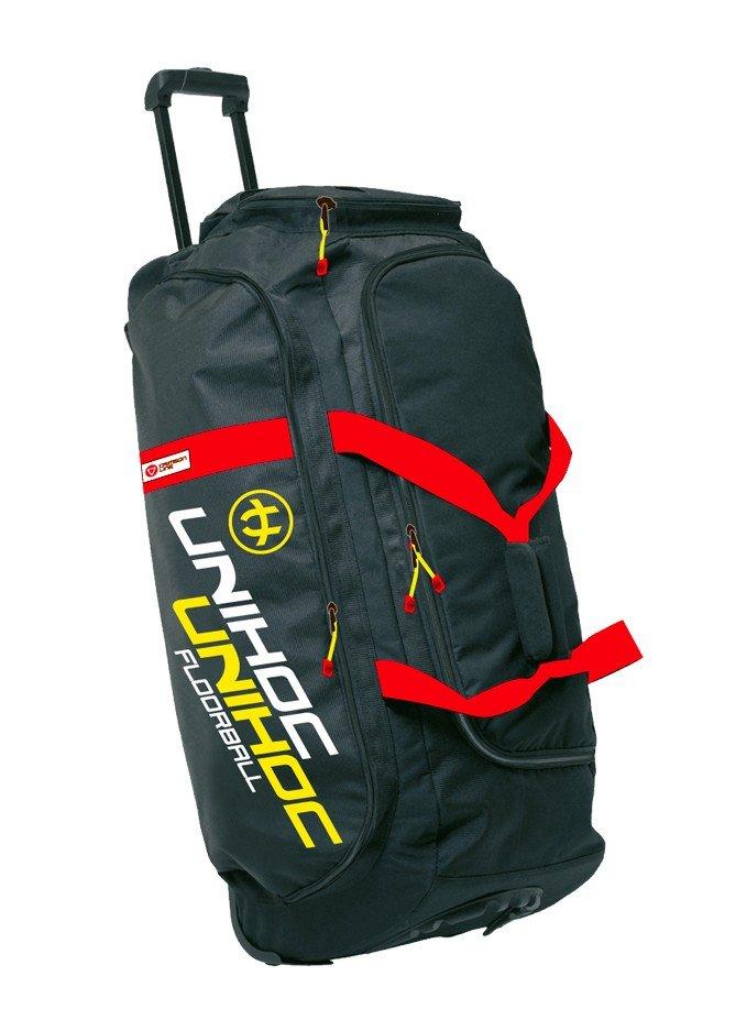 Unihoc Crimson Line velká sportovní taška s kolečky černá-červená