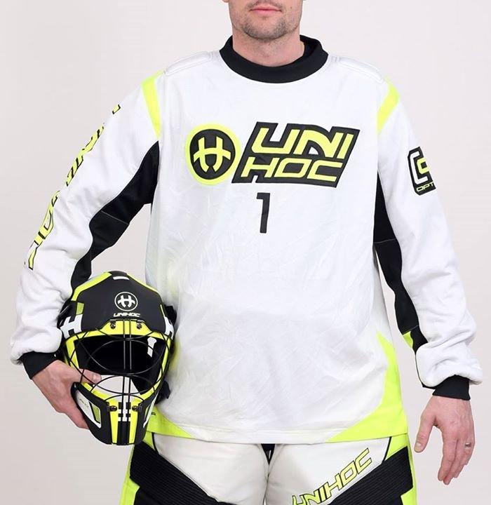 Unihoc Optima Jr. brankářský dres White Yellow 160 bílá-černá-žlutá