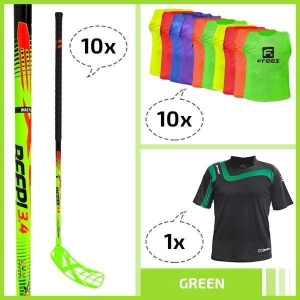 Exel Floorball set - GREEN - 92cm 92cm (=103cm)